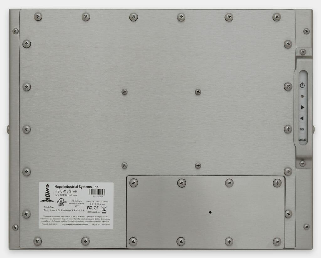15-Zoll-Industriemonitore mit Universalhalterung und robuste Touchscreens der Schutzart IP65/IP66, Rückansicht