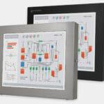 17-Zoll-Industriemonitore mit Universalhalterung und robuste Touchscreens der Schutzart IP65/IP66, Vorderansicht