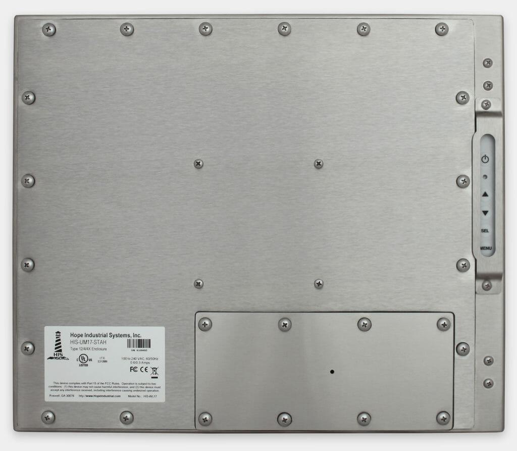 17-Zoll-Industriemonitore mit Universalhalterung und robuste Touchscreens der Schutzart IP65/IP66, Rückansicht