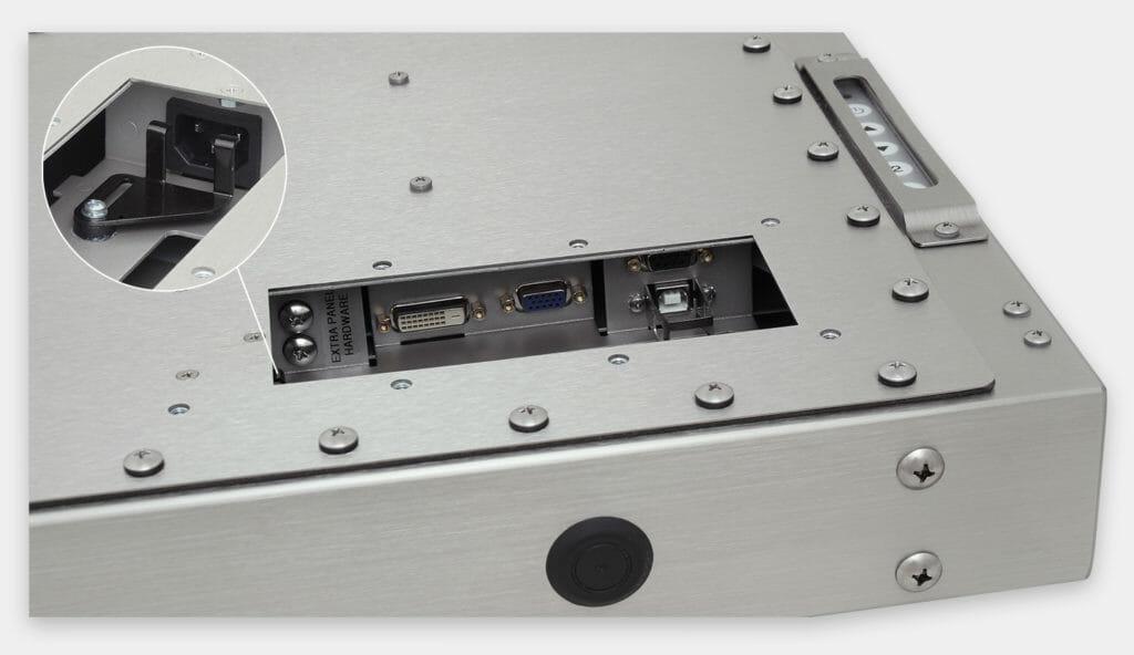 19-Zoll-Industriemonitore mit Universalhalterung und robuste Touchscreens der Schutzart IP65/IP66, Ansicht AC-Kabelausgang