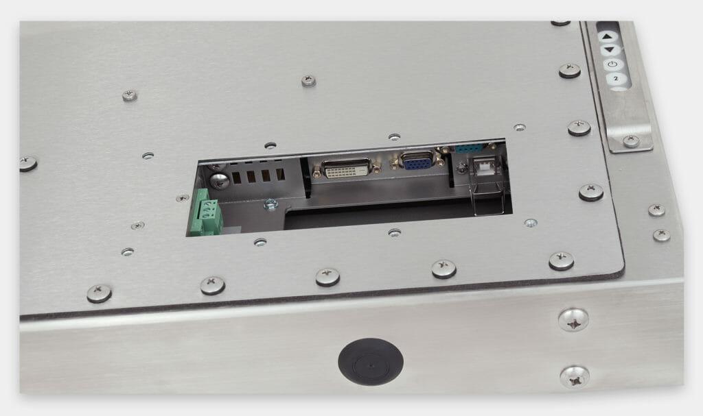 19-Zoll-Industriemonitore mit Universalhalterung und robuste Touchscreens der Schutzart IP65/IP66, Ansicht DC-Kabelausgang