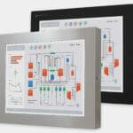 19-Zoll-Industriemonitore mit Universalhalterung und robuste Touchscreens der Schutzart IP65/IP66, Vorderansicht