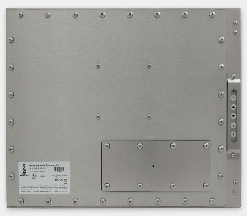 19-Zoll-Industriemonitore mit Universalhalterung und robuste Touchscreens der Schutzart IP65/IP66, Rückansicht
