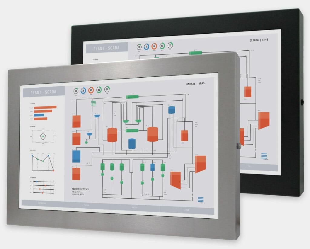 22-Zoll-Breitbild-Industriemonitore mit Universalhalterung und robuste Touchscreens der Schutzart IP65/IP66, Vorderansicht