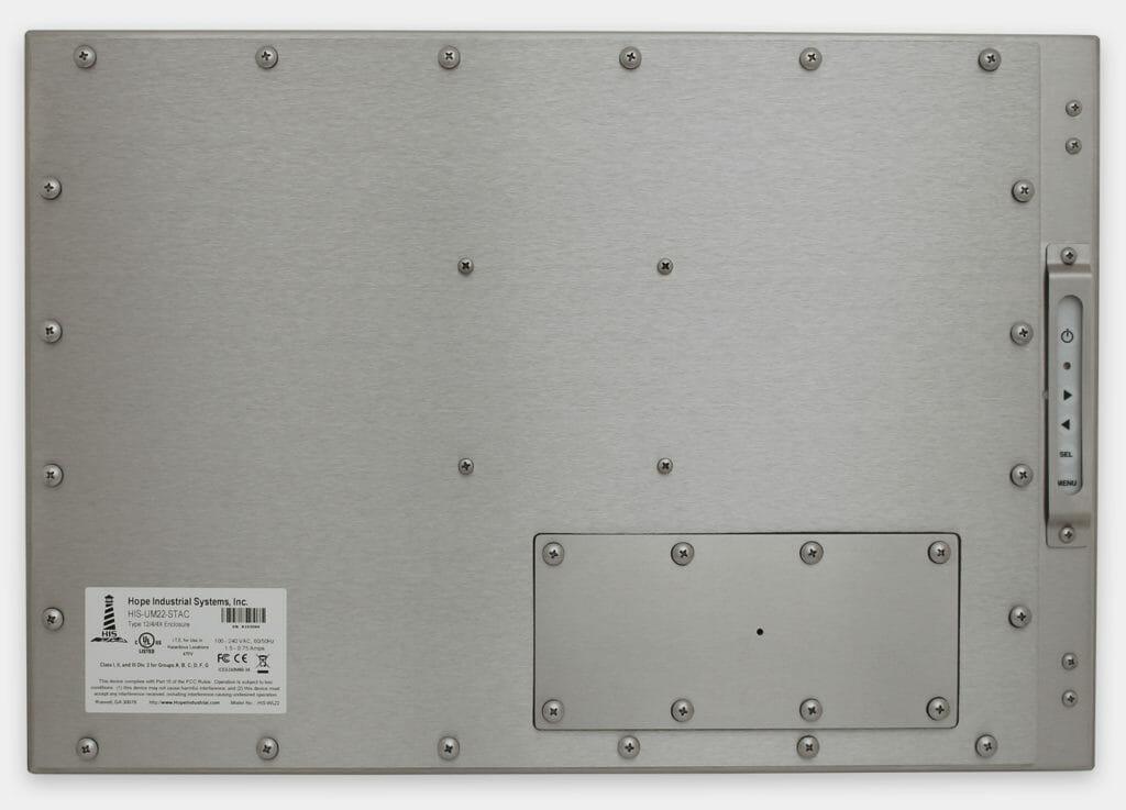 22-Zoll-Breitbild-Industriemonitore mit Universalhalterung und robuste Touchscreens der Schutzart IP65/IP66, Rückansicht