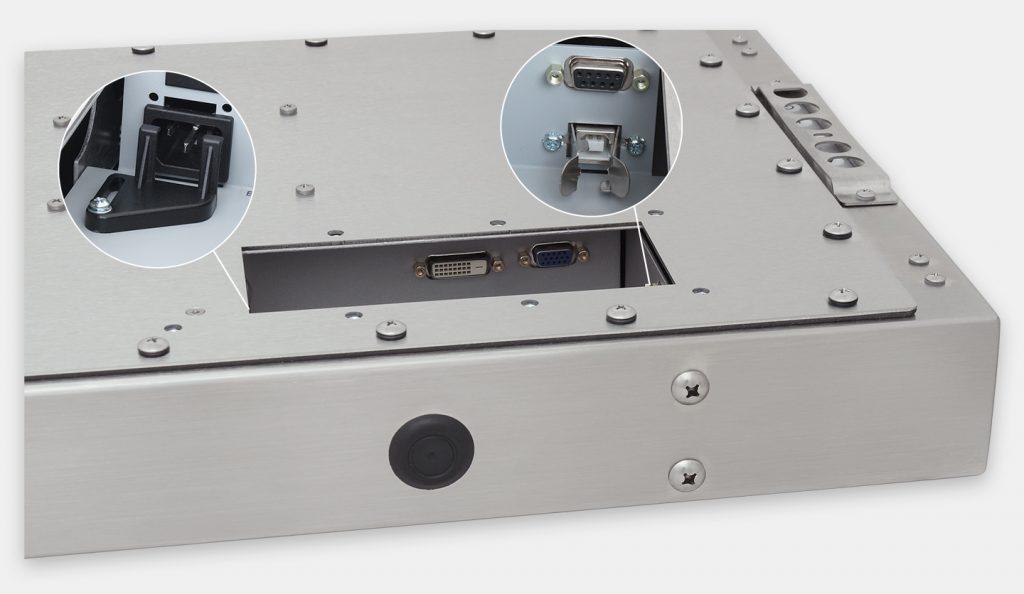 23-Zoll-Breitbild-Industriemonitore mit Universalhalterung und robuste Touchscreens der Schutzart IP65/IP66, Ansicht AC-Kabelausgang