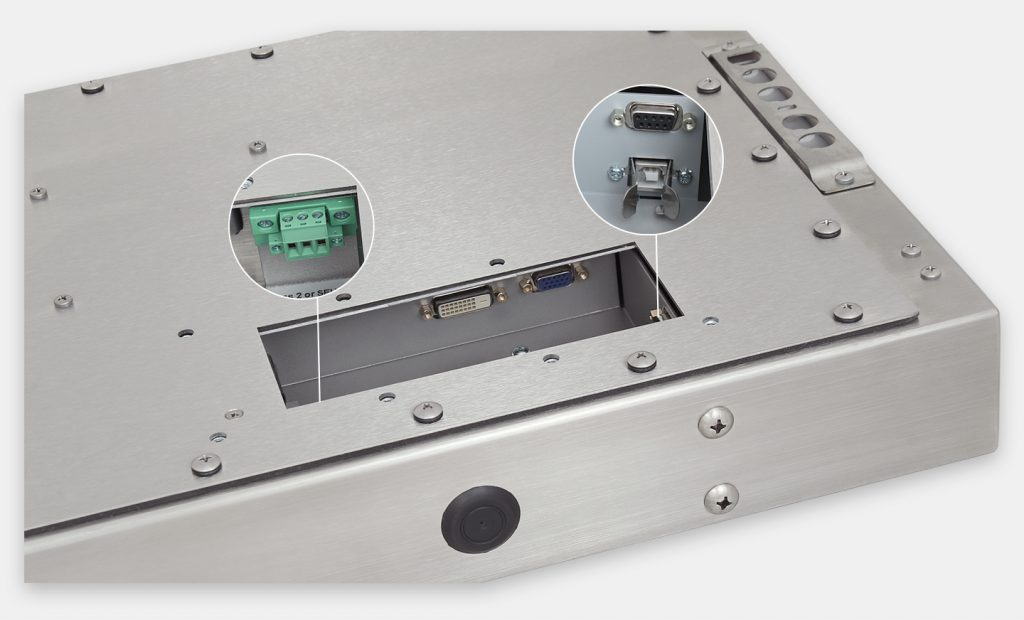 23-Zoll-Breitbild-Industriemonitore mit Universalhalterung und robuste Touchscreens der Schutzart IP65/IP66, Ansicht DC-Kabelausgang