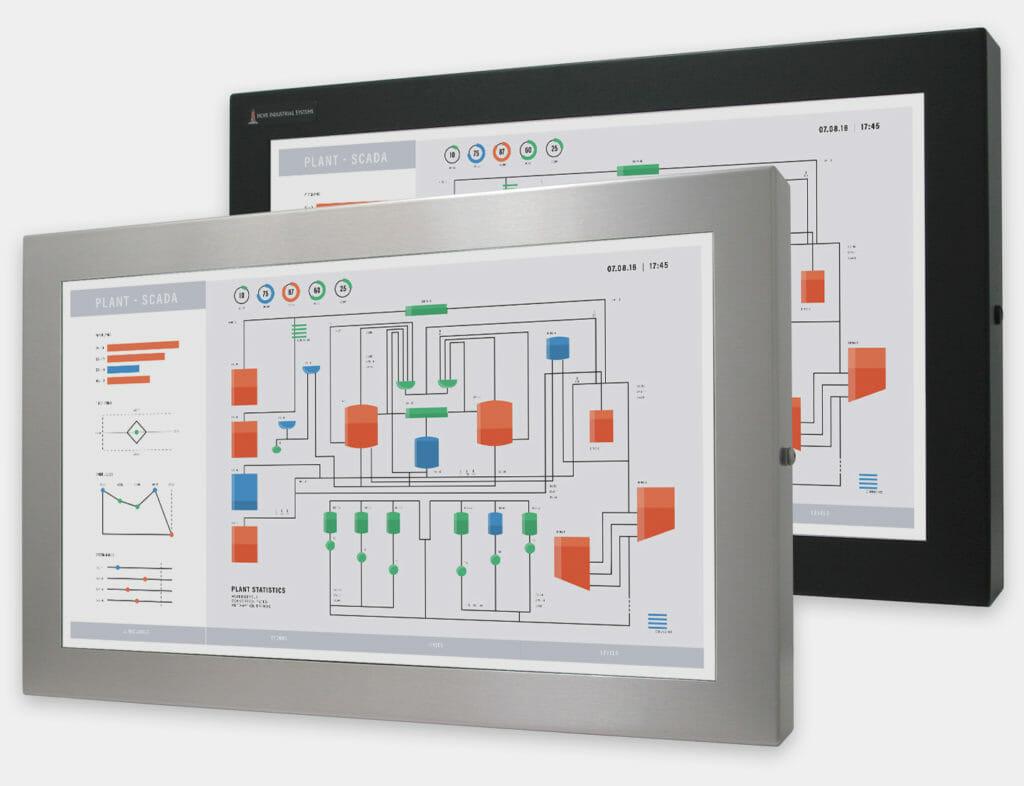 23-Zoll-Breitbild-Industriemonitore mit Universalhalterung und robuste Touchscreens der Schutzart IP65/IP66, Vorderansicht