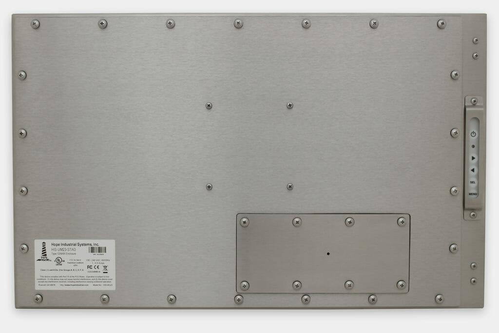 23-Zoll-Breitbild-Industriemonitore mit Universalhalterung und robuste Touchscreens der Schutzart IP65/IP66, Rückansicht