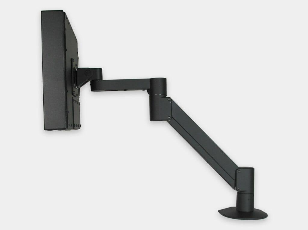 VESA-Radialarmhalterung für Industrie-Monitore, Seitenansicht mit Monitor