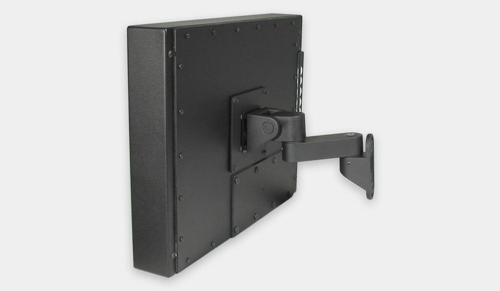 VESA-Wandhalterung für Industriemonitore, Seitenansicht, mit montiertem Monitor