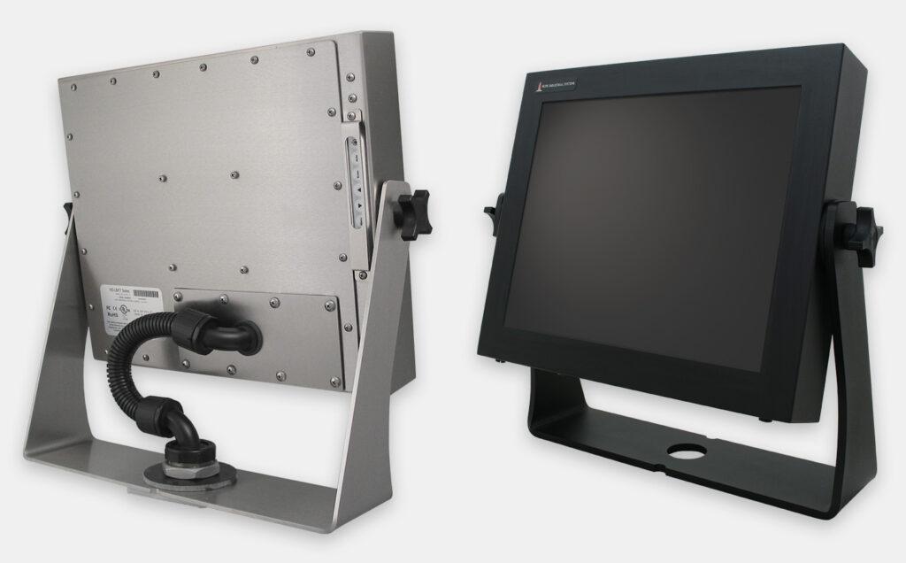 Optionale hochbelastbare U-Halterungen für Tischmontage für Monitore mit Universalhalterung, nach IP65/IP66, Edelstahl oder schwarzer Kohlenstoffstahl