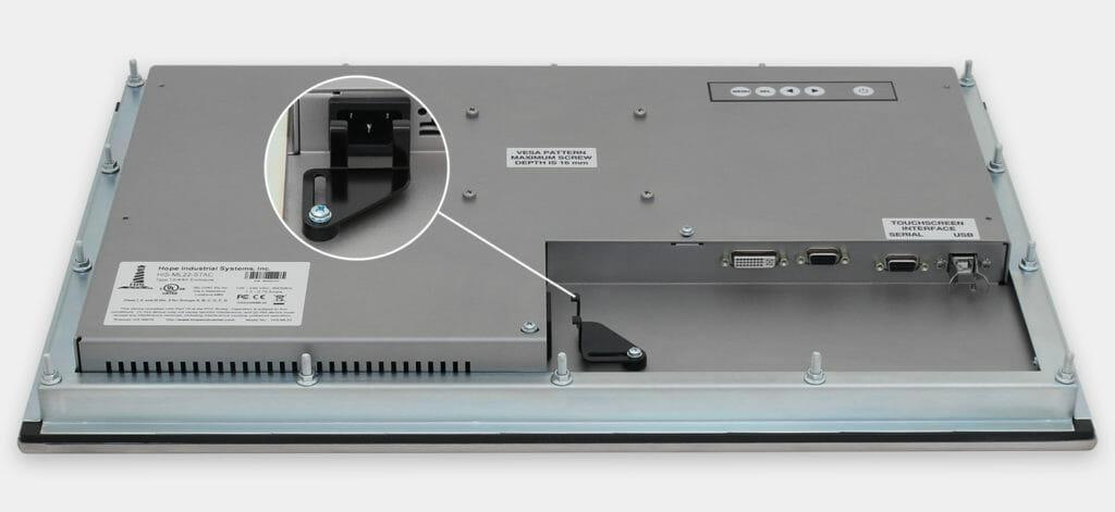 22-Zoll-Breitbild-Industrie-Einbaumonitore und robuste Touchscreens der Schutzart IP65/IP66, Ansicht AC-Kabelausgang