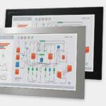 22-Zoll-Breitbild-Industrie-Einbaumonitore und robuste Touchscreens der Schutzart IP65/IP66, Front- und Seitenansicht