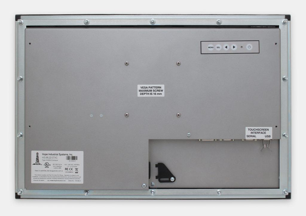 22-Zoll-Industrie-Breitbild-Einbaumonitore und robuste Touchscreens der Schutzart IP65/IP66, Rückansicht