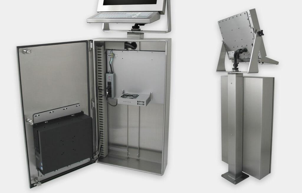 Industrie-Gehäuse für handelsübliche und Industrie-PCs Nahansicht mit generischem Lüftersatz, Innen- und Rückansicht