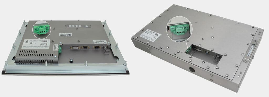 Abbildung des 17-Zoll-Einbaumonitors und des 23-Zoll-Monitors für universelle Befestigung mit Gleichstromversorgung