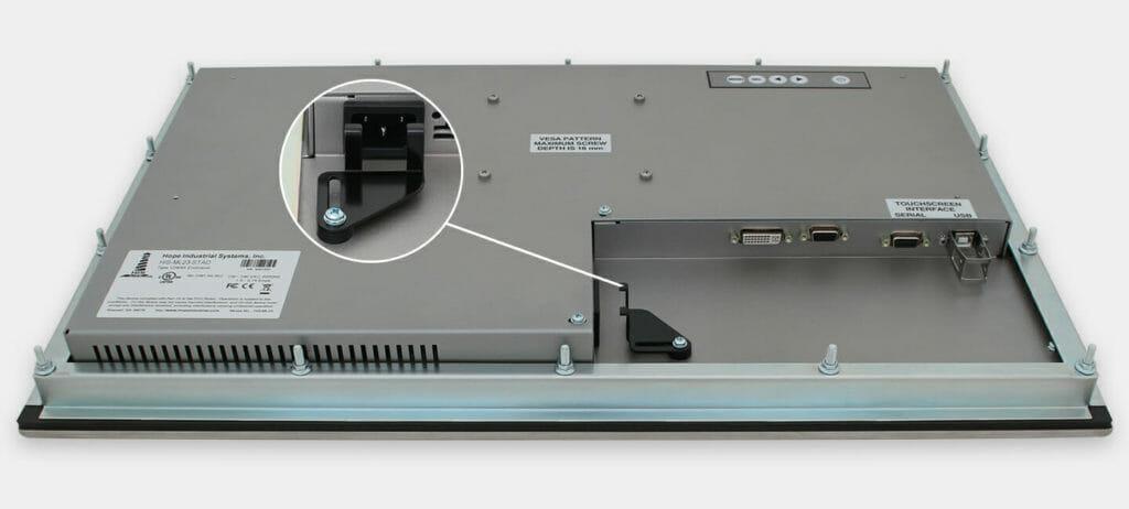 23-Zoll-Breitbild-Industrie-Einbaumonitore und robuste Touchscreens der Schutzart IP65/IP66, Ansicht AC-Kabelausgang